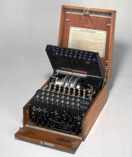 Enigma Machine, inner lid raised
